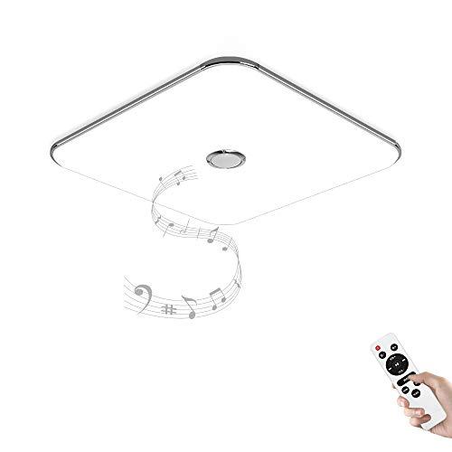JDONG Deckenleuchte mit Bluetooth Lautsprecher und Fernbedienung 24W, dimmbar, Warmweiss- Kaltweiss, 2800-6500 Kelvin (Silber) X5121Y-24