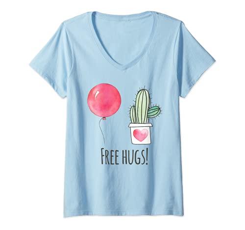 Mujer Free Hugs Shirt Gardener Succulent Cactus Funny No Hugs Camiseta Cuello V