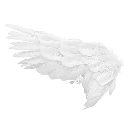 Agoky Kinder Feder Flügel mit Trägern Vogel Engel Teufel Cosplay Zubehör Party Halloween Weihnachten Verkleidung für Fasching Karneval Weiß Medium