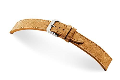 RIOS1931 Franklin Mod. 152 - Correa de reloj para hombre (piel de ante auténtica, ancho 22 mm, longitud 114/82 mm), color marrón