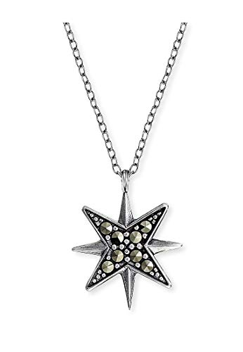 Engelsrufer Damen-Kette Stern 925er Silber rhodiniert 8 Markasit One Size 87847438