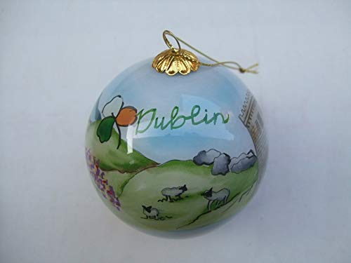 Hand Painted Glass Christmas Ornament - Dublin