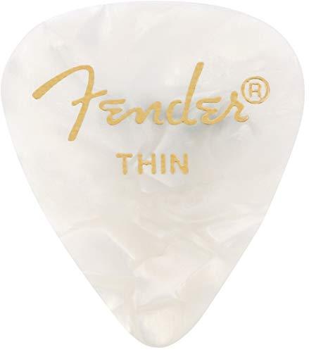 Fender 0980351705 Shape Premium Picks, Thin, White Moto, 12 Count
