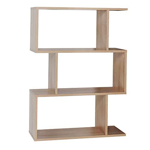 RICOO WM072-ES Estantería 97 x 70 x 25 cm Estante Librería Moderna Biblioteca Muebles de hogar Mueble almacenaje 3 Niveles Color Madera Roble marrón