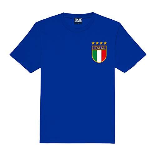 Print Me A Shirt Camiseta de fútbol Personalizados Italia Italiano (Azul) Primera equipacíon para niños