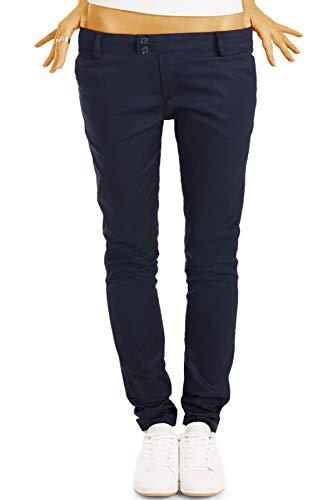 bestyledberlin BE Styled Damen Chinos - Stoffhosen, röhrige hüftige Passform, mit Stretch 38/M Marineblau