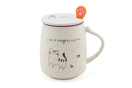 Fuji Merchandise Novelty Naughty Kitten Cat Ceramic Coffee Tea Mug with Lid Spoon 16 fl oz Mug