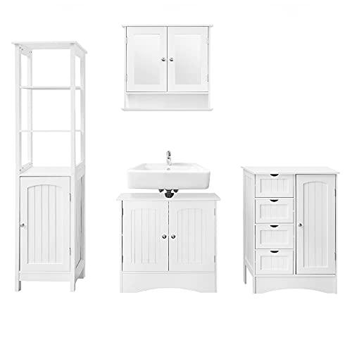 ML-Design Badmöbel Set 4-teilig, Badezimmer Komplettset, Spiegelschrank, Waschtisch mit Unterschrank, Hochschrank, Hängeschrank, Badezimmerschrank, Badschrank, Landhausstil, Weiß, Holz, viel Stauraum