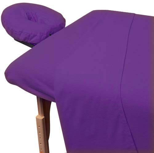 600 Thread Count Supreme Quality Egyptian Cotton 3-Piece Massage Table Spa Sheet Set Fits 5-7 Inch Deep Pocket Purple Solid