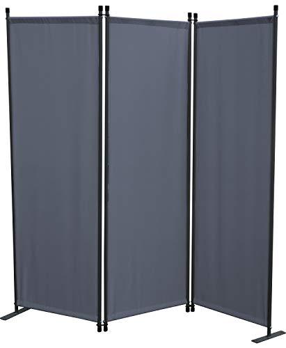 GRASEKAMP Qualität seit 1972 Stellwand 165x170 cm dreiteilig - grau - Paravent Raumteiler Trennwand Sichtschutz