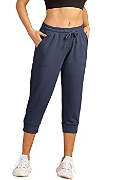 icyzone Women s French Terry Jogger Lounge Sweatpants - Active Capri Pants for Women  Navy M