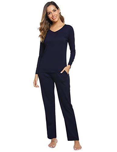 Aibrou Damen Einfarbige Pyjama Set, Zweiteiliger Modal Langarm Schlafanzug (XL, Einfarbe: Dunkelblau)