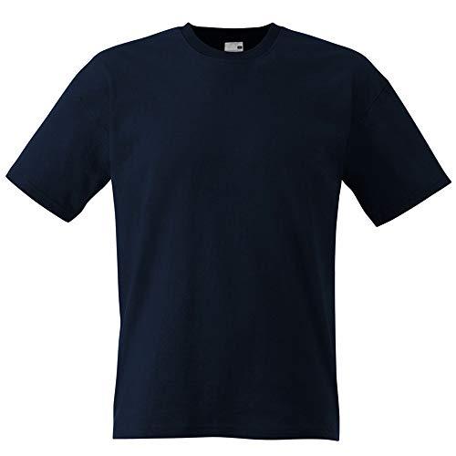Fruit of the Loom - Camiseta Básica de Manga Corta de Calidad diseño Original Hombre Caballero (Grande (L)/Azul Marino Oscuro)