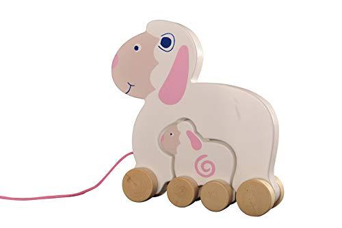 WoodyWood Nachziehtier Schaf mit Baby Schäfchen aus Holz, Nachziehspielzeug für Babys und Kinder,Holzspielzeug zum Ziehen,Schieben,Spielen,TÜV geprüft