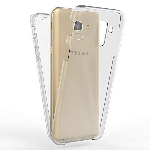 Kaliroo Handyhülle 360 Grad kompatibel mit Samsung Galaxy A8 2018, Full-Body Schutzhülle Hardcase hinten und Bildschirmschutz vorne mit Silikon Bumper, Full-Cover Hülle Komplett-Schutz Hülle - Transparent