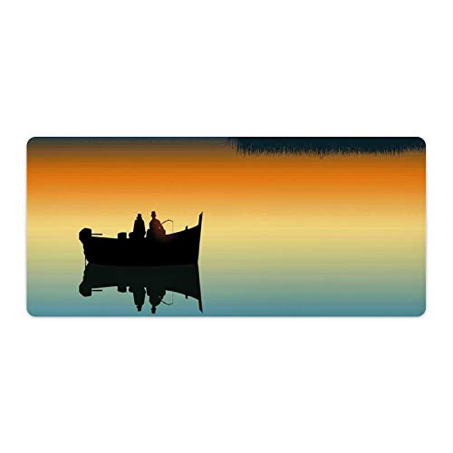 Extended Gaming Mouse Pad with Stitched Edges Keyboard MatNon-Slip Rubber Base Buddies on Tranquil Still Lake at Epic Sunset Fishing Male Friends Bond Friendship Desk Pad for Gamer Office 16x35 Inch