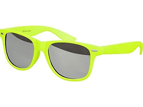 Balinco Hochwertige Nerd Sonnenbrille Rubber im Retro Stil Vintage Unisex Brille mit Federscharnier - 96 verschiedene Farben/Modelle wählbar (Neongelb - Silber verspiegelt)