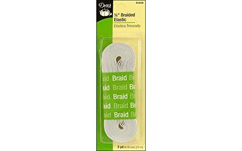 Dritz 9330W Braided Elastic, White, 1/4-Inch by 3-Yard