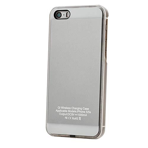 TEFIRE Kabelloses Ladegerät Case Qi Lade Receiver Case Kit für iPhone 5 / 5s / SE, Schutz TPU Receiver Case Rückseitige Abdeckung Flexible Connector-Kompatibel mit Qi Wireless-Geräte (Silber)