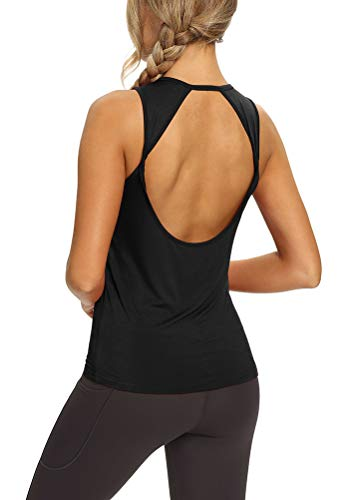 Mippo Workout Tank Tops for Women Yoga Shirts Athletic Gym Open Back Tank Tops Loose Fit Tennis Shirts Muscle Tank Summer Fashion Workout Clothes for Women 2021 Black XL