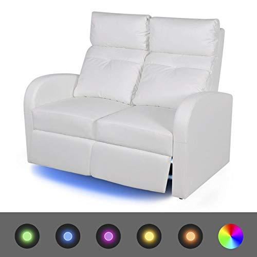 vidaXL LED Fernsehsofa Kinosofa Heimkino Relaxsessel 2-Sitzer Kunstleder Weiß