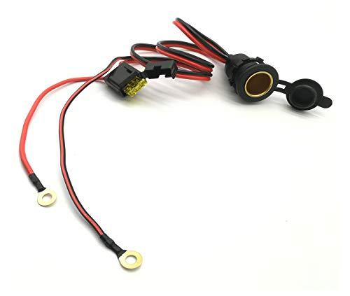 Dngge - Toma de mechero de alta potencia, resistente al agua, grado marino, 12 V/24 V CC, enchufe para mechero de coche, con cable de 1 m 14 AWG 20 A
