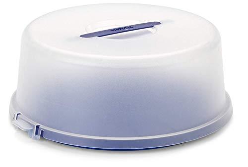 Emsa 504918 Kuchenbox mit Haube, Ø 33 cm, Höhe 13.5 cm, Blau, Basic