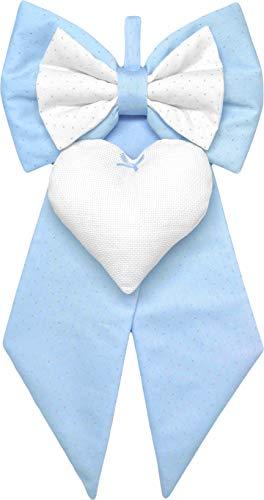 fiocco nascita bimbo azzurro glitterato elegante da ricamare a punto croce su cuore in tela aida - fiocco nascita fai da te personalizzato per maschio (Azzurro glitter, Standard 23x45cm)