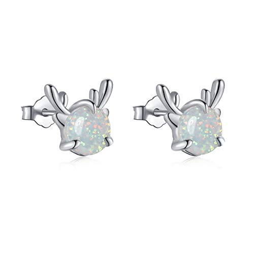 Qings Cute Reindeer Ear Studs Opal Classic Retro Christmas Exclusive Antler Earrings for Girl and Daughter