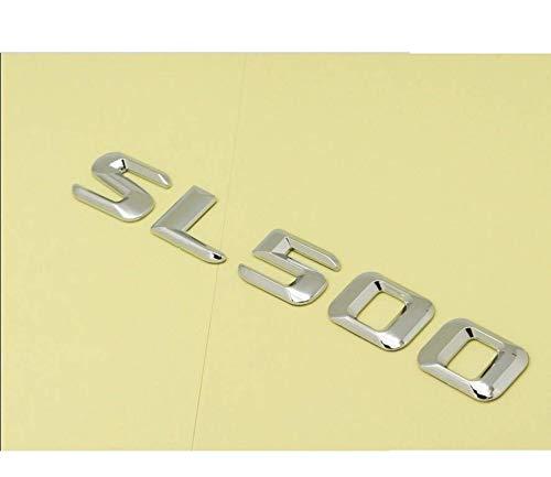 Pegatina de plástico ABS cromado 3D para maletero de coche, letras posteriores, para Mercedes Benz SL Class SL500 (SL500, cromo plateado brillante)
