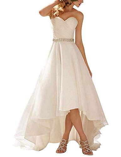 HUINI Brautkleider Hochzeitskleider Prinzessin Asymmetrisch Herzausschnitt Trägerlos Ballkleider Abendkleider Organza Elegant mit Gürtel Weiß 36
