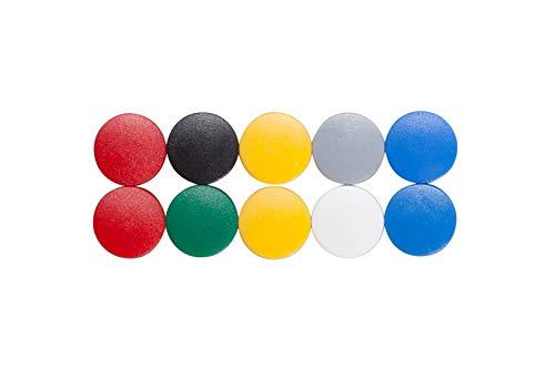 Magnet Maulsolid, Rundmagnet, bruchsicherer Kunststoff, 150 g Haftkraft, 15 x 7 mm, bunt, 6161599, 10 Stück