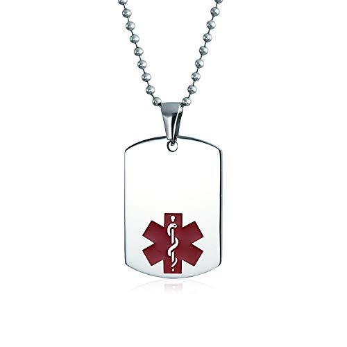 Bling Jewelry Unisex Personalizar Personalizable médico identificación médico médico identificación médico Perro Etiqueta de Acero Colgante Collar para Hombres Mujeres 20 Pulgadas Cadena Medio