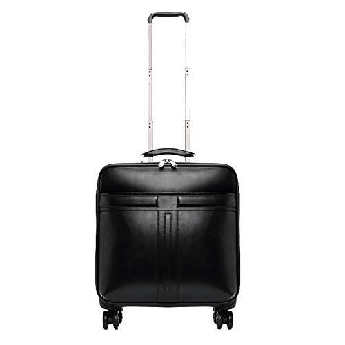 Zakelijke leren boarding case, trolley case, universele wiel koffer, mannen en vrouwen koffer 16 inch zwart