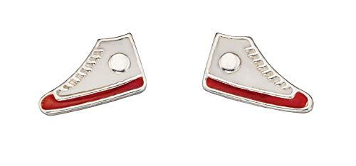 Orecchini a perno in vero argento Sterling, a forma di scarpa da ginnastica, colore: bianco