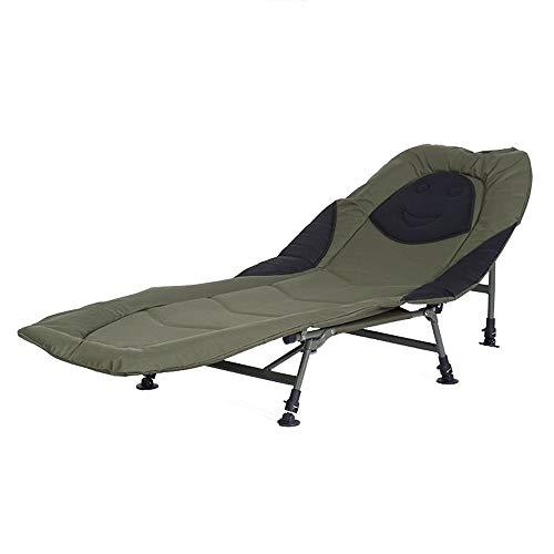 LYFEI 6 Leg Verstellbares Bett Stuhl Bedchair Karpfenangeln Camping Betten Strand Indoor Outdoor Stuhl süß (Farbe : Grün, Größe : 190 * 72 * 38cm)