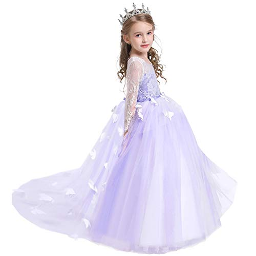 WOCINL Flower Girls Butterflies Appliques Lace Tulle Dress Long Sleeve Wedding Birthday Communion Christmas Party Ball Gown Lavender 8-9T