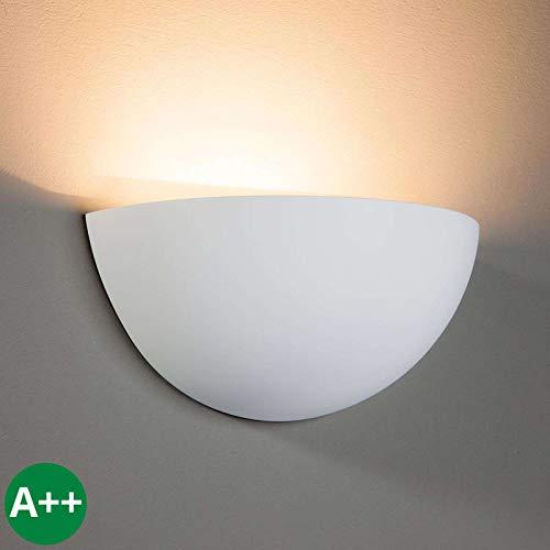 Lampenwelt Wandleuchte, Wandlampe Innen 'Pascali' dimmbar (Modern) in Weiß aus Gips/Ton u.a. für Wohnzimmer & Esszimmer (1 flammig, E14, A++) - Wandfluter, Wandstrahler, Wandbeleuchtung Schlafzimmer /
