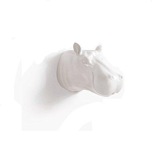 Rhinocéros Hippopotame Animal Tête Décorations Murales Creative Mur Décoratif Murs Hippocampe Animal Tête Vases Multifonctionnel Décoration Plantes En Pot Xuan - worth having (Couleur : Blanc)