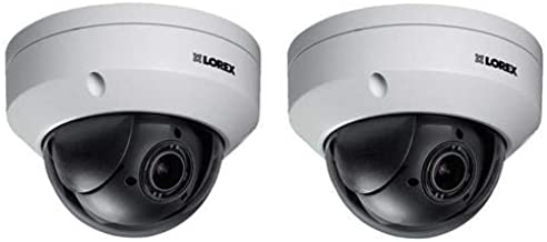Lorex 2 Pack LNZ44P4B Super High Definition 4MP Indoor/Outdoor Day & Night PTZ Network Dome Camera with Color Night Vision, 4X Optical Zoom, Vandal Resistant, Waterproof
