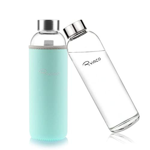 Ryaco Bottiglia d'Acqua, 550ml Bottiglia Vetro Trasparente Portatile con Guaina Protettiva in Neoprene per Il Campeggio Viaggi tè Ufficio
