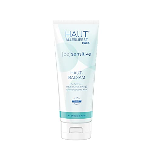HAKA Hautbalsam sensitiv I 200 ml I Lotion zur Körperpflege, Hautpflege und Gesichtspflege I Parfümfreie Pflegecreme für trockene, strapazierte Haut (200 ml)