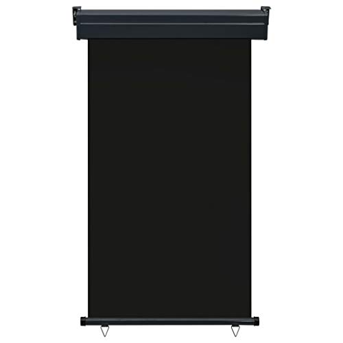 Festnight Balkon-Seitenmarkise 100 x 250 cm Schwarz Senkrechtmarkise Sonnenschutz Sichtschutz Windschutz Markise Außenrollo Balkonrollo
