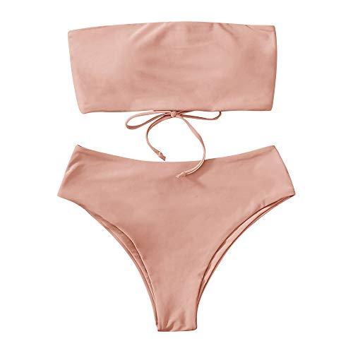 FUPOZ Damen Bikini Set Push Up Gepolstert Bustier Zweiteilig Sommer Sportliches Bademode Strand Bikini (001Pink,S)