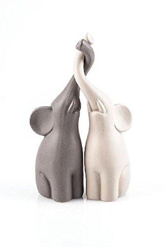 Pajoma - Coppia di Statuette in Ceramica a Forma di elefantini, Altezza 25,5 cm, Grigio