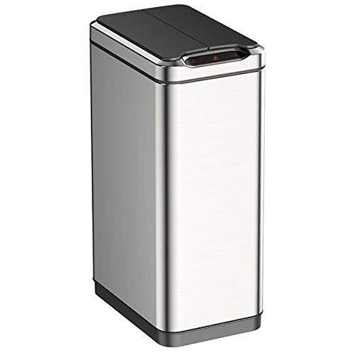 EKO Phantom 50 Liter / 13.2 Gallon Vertical Motion Sensor Trash Can, Classic, Brushed Stainless Steel Finish