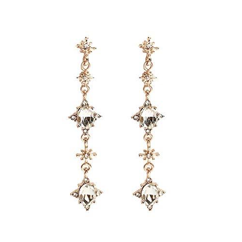Xi-Link Pendientes, S925 Silver Aguja Seis Estrellas Pendientes De Cristal, Pendientes De Chica Dulce (Color : Ear Studs)