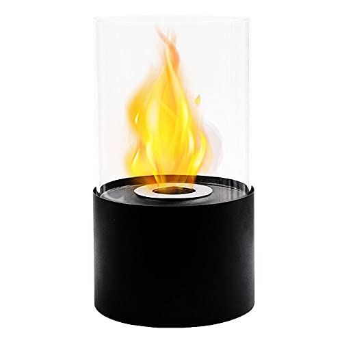 Black Bioethanol Fireplace, Tabletop Fire Bowl Ethanol Fire Pit Bio Fireplace for Indoor Outdoor Home Garden Balcony Living Room Dining Table