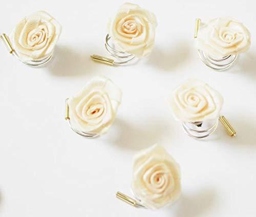 Haarschmuck Curlie - 6 Haarspiralen mit Rosen in der Farbe beige creme Hochzeit Braut