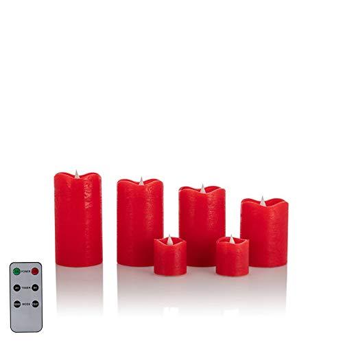 6 LED Echtwachskerzen mit täuschend echter Flamme & Docht, Fernbedienung und Timer (6er Rot)